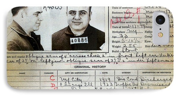 Al Capone Mugshot And Criminal History IPhone Case by Jon Neidert