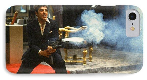 Al Pacino As Tony Montana With Machine Gun Blasting His  Fellow Bad Guys Scarface 1983 IPhone Case by David Lee Guss