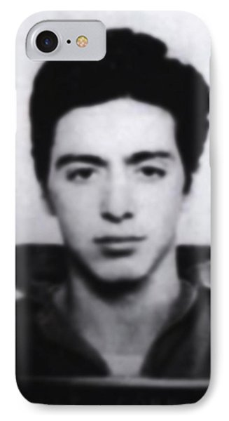 Al Pacino Mug Shot 1961 Black And Blueish  IPhone Case by Tony Rubino