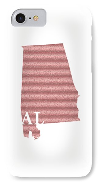 Alabama State Map With Text Of Constitution IPhone Case