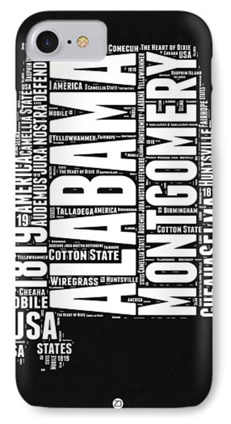 Alabama Word Cloud Black And White Map IPhone Case by Naxart Studio