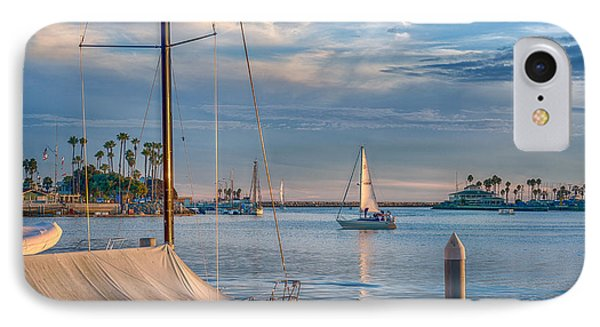 Alamitos Bay Inlet Sailboat IPhone Case by David Zanzinger