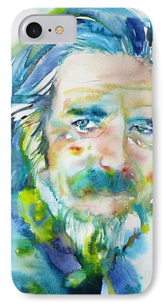 IPhone Case featuring the painting Alan Watts - Watercolor Portrait.4 by Fabrizio Cassetta