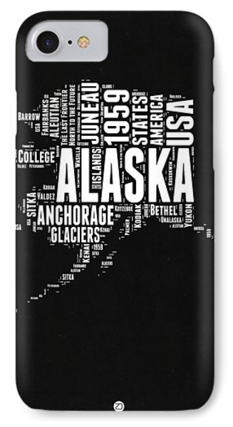 Alaska Black And White Map IPhone Case by Naxart Studio