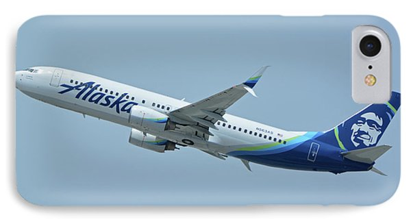 IPhone Case featuring the photograph Alaska Boeing 737-890 N563as Los Angeles International Airport May 3 2016 by Brian Lockett