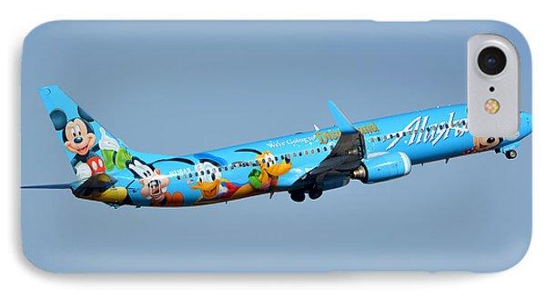 Alaska Boeing 737-990 N318as Disneyland Phoenix Sky Harbor January 19 2016 Phone Case by Brian Lockett