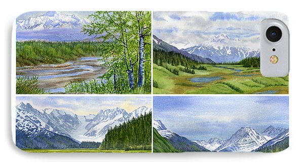 Alaska Landscape Poster Collage 3 With Heading IPhone Case by Sharon Freeman