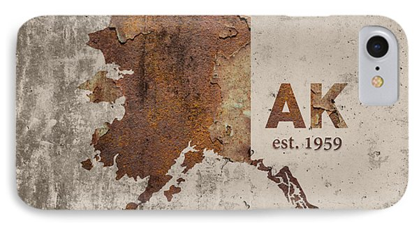 Alaska State Map Industrial Rusted Metal On Cement Wall With Founding Date Series 018 IPhone Case by Design Turnpike