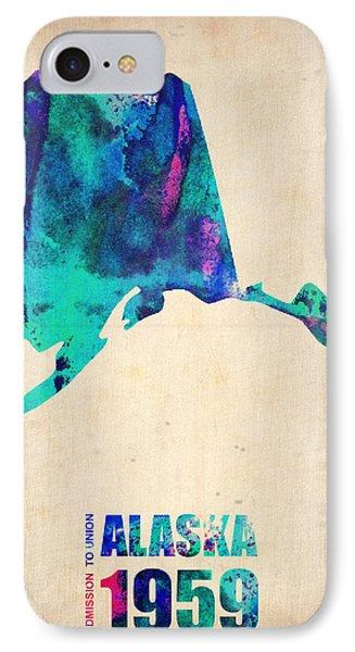 Alaska Watercolor Map IPhone Case by Naxart Studio