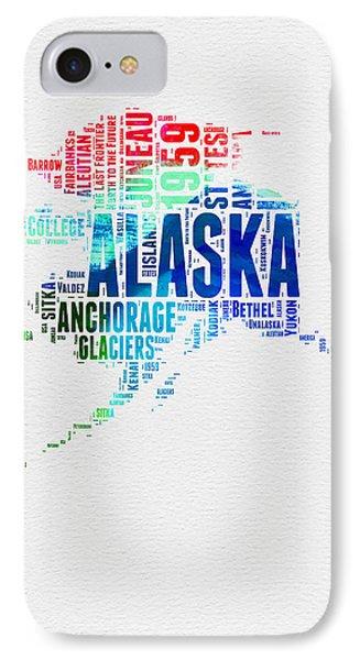 Alaska Watercolor Word Cloud  IPhone Case by Naxart Studio