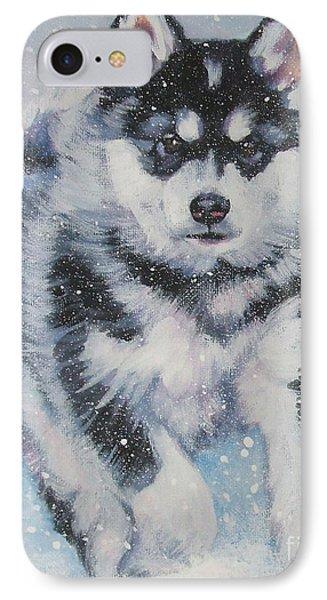 alaskan Malamute pup in snow Phone Case by Lee Ann Shepard