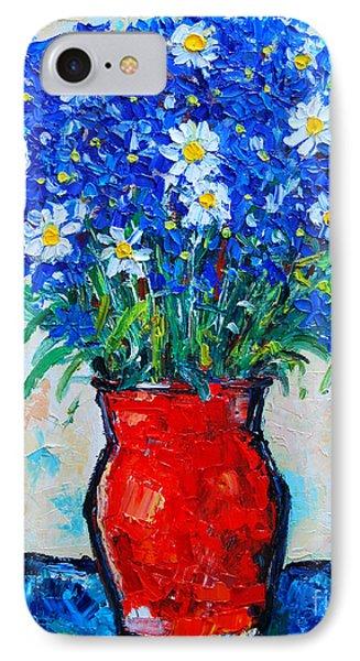 Albastrele Blue Flowers And Daisies Phone Case by Ana Maria Edulescu