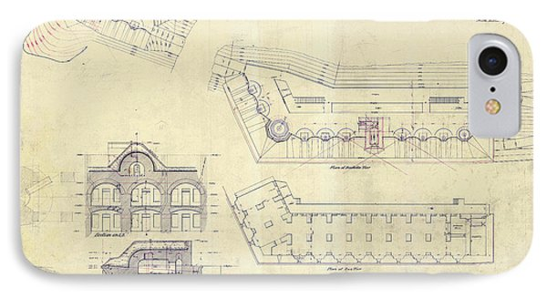 Alcatraz  Bomb Proof Barracks Drawing 1865   IPhone Case by Jon Neidert