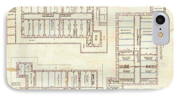 Alcatraz Citadel Drawing 1857 IPhone Case by Jon Neidert