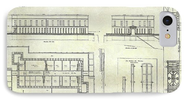 Alcatraz Defensive Barracks Drawing 1859 IPhone Case by Jon Neidert