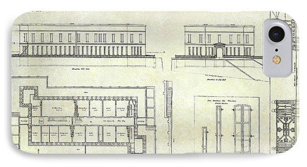 Alcatraz Defensive Barracks Drawing 1859 IPhone Case by Jon Neidert