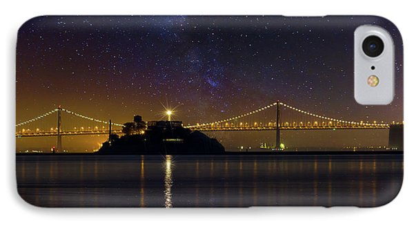 Alcatraz Island Under The Starry Night Sky Phone Case by David Gn