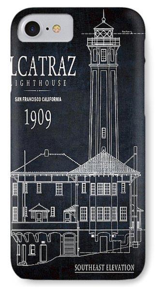 Alcatraz Lighthouse 1909 Blueprint Minimal IPhone Case by Daniel Hagerman