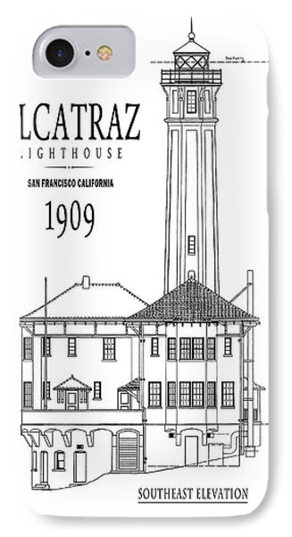 Alcatraz Lighthouse Architectural Drawing Minimal IPhone Case