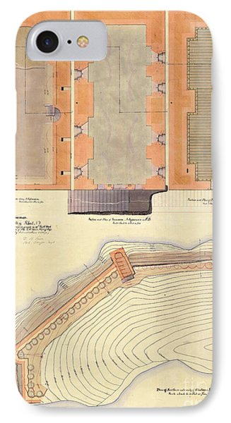 Alcatraz North Battery Drawing1856   IPhone Case by Jon Neidert