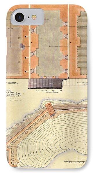 Alcatraz North Battery Drawing1856   IPhone Case by Jon Neidert