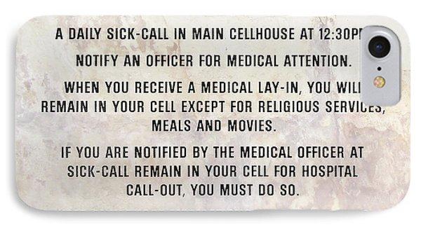 Alcatraz Prison Hospital Rules IPhone Case by Jon Neidert