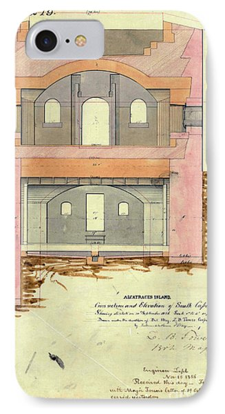 Alcatraz South Capniere Drawing 1856 IPhone Case by Jon Neidert