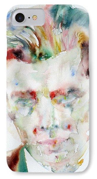 Aldous Huxley - Watercolor Portrait.3 IPhone Case by Fabrizio Cassetta