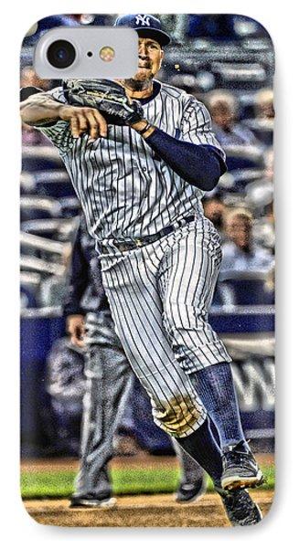 Alex Rodriguez New York Yankees Art 2 IPhone Case by Joe Hamilton
