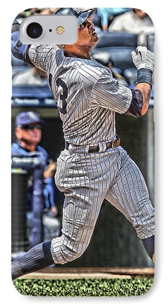Alex Rodriguez New York Yankees Art 5 IPhone Case by Joe Hamilton