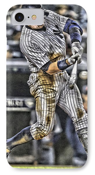 Alex Rodriguez New York Yankees Art1 IPhone Case by Joe Hamilton