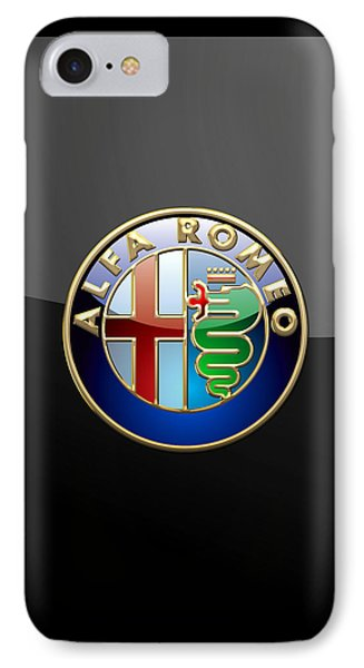 Alfa Romeo - 3 D Badge On Black IPhone Case by Serge Averbukh