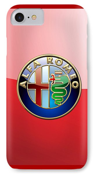 Alfa Romeo - 3d Badge On Red IPhone Case by Serge Averbukh