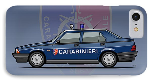 Alfa Romeo 75 Tipo 161, 162b Milano Carabinieri Italian Police Car IPhone Case by Monkey Crisis On Mars