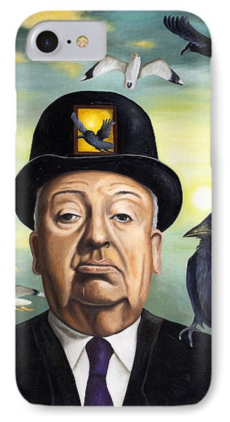 Alfred Hitchcock Phone Case by Leah Saulnier The Painting Maniac