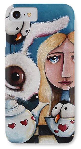Alice And The White Rabbit IPhone Case by Lucia Stewart