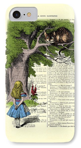 Alice In Wonderland And Cheshire Cat IPhone Case by Madame Memento