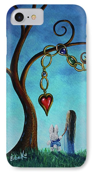Alice In Wonderland Art - Alice And The Jeweled Tree IPhone Case by Shawna Erback