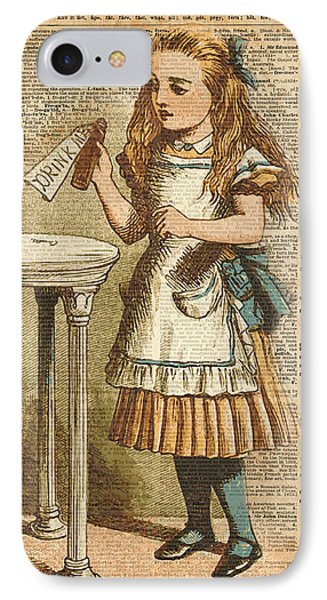 Fantasy iPhone 7 Case - Alice In Wonderland Drink Me Vintage Dictionary Art Illustration by Anna W