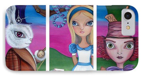 Alice In Wonderland Inspired Triptych Phone Case by Jaz Higgins