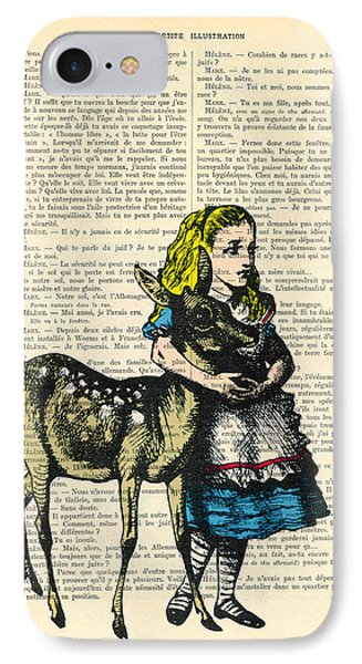Alice In Wonderland With Fawn In Color Antique Illustration IPhone Case by Madame Memento