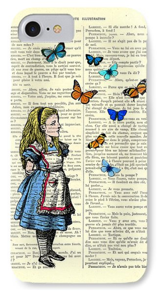 Alice With Blue And Orange Butterflies IPhone Case by Madame Memento