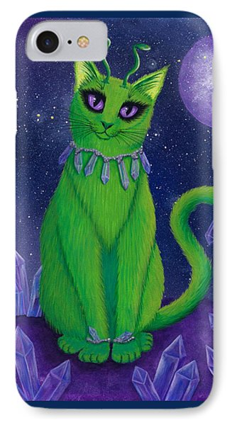 IPhone Case featuring the painting Alien Cat by Carrie Hawks