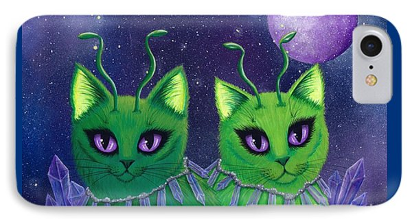 IPhone Case featuring the painting Alien Cats by Carrie Hawks