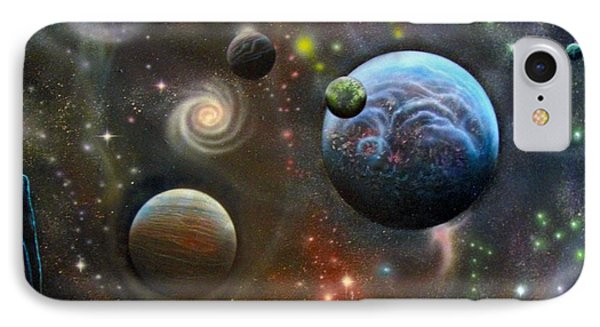 Alien Landscape With Galaxies Planets And Moons IPhone Case by Sam Del Russi