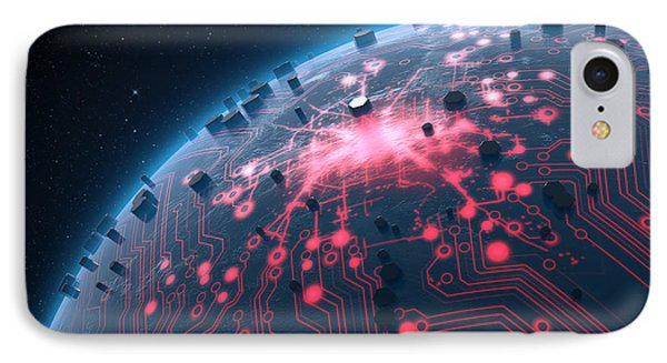 Alien Planet With Illuminated Network IPhone Case