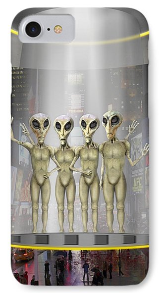 Alien Vacation - Beamed Up From Time Square IPhone Case by Mike McGlothlen