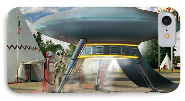 Alien Vacation - Gasoline Stop Phone Case by Mike McGlothlen