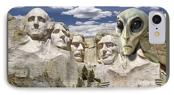 Alien Vacation - Mount Rushmore 2 IPhone Case by Mike McGlothlen