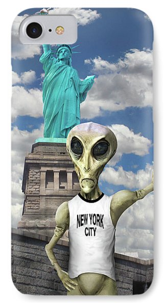 Alien Vacation - New York City Phone Case by Mike McGlothlen